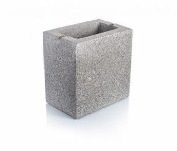 Bloque de cemento mitad con frente debilitado para muro Visto de 13 cm. de espesor