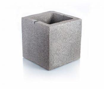 Bloque de cemento mitad con frente debilitado para muro Visto de 20 cm. de espesor