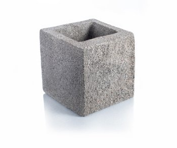 Bloque de cemento Simil Piedra Mitad para muro de 20 cm. de espesor